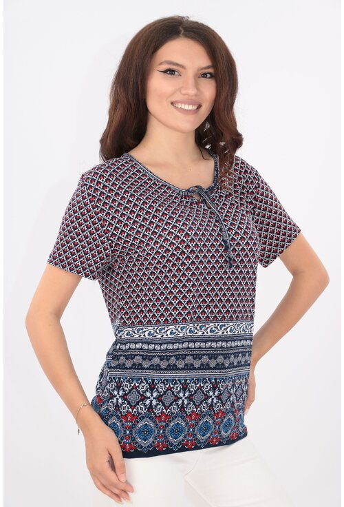 Bluza bleumarin cu print abstract rosu si bordura
