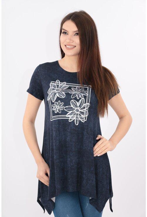 Bluza bleumarin cu print floral argintiu