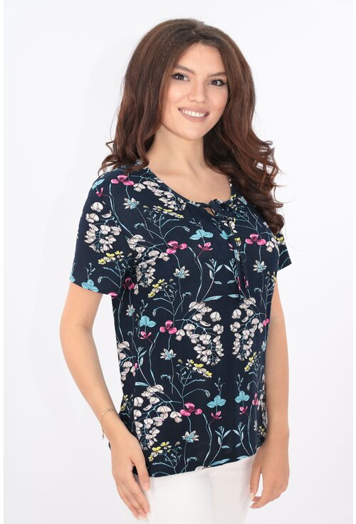 Bluza bleumarin cu print floral bleu-roz
