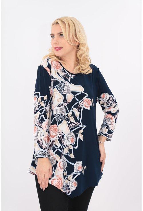Bluza bleumarin cu print floral corai