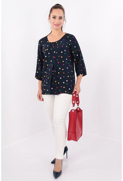 Bluza bleumarin din bumbac cu print cu buline