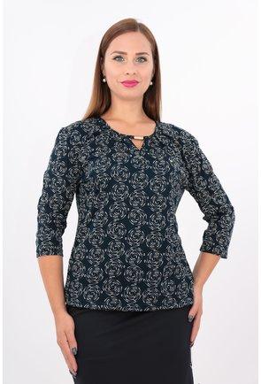 Bluza bleumarin din tricot cu print cu buline crem