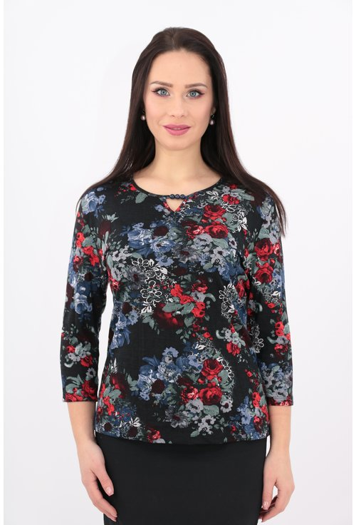 Bluza bleumarin din tricot cu print floral