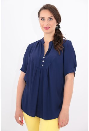 Bluza bleumarin din vascoza cu guler tunica