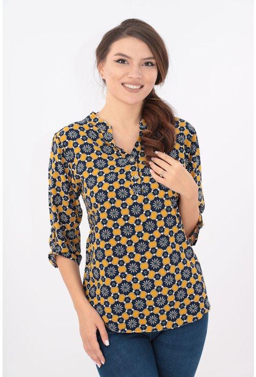 Bluza bleumarin-mustar cu print geometric si guler tunica