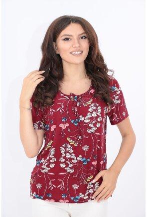 Bluza bordo cu print floral bleu-roz