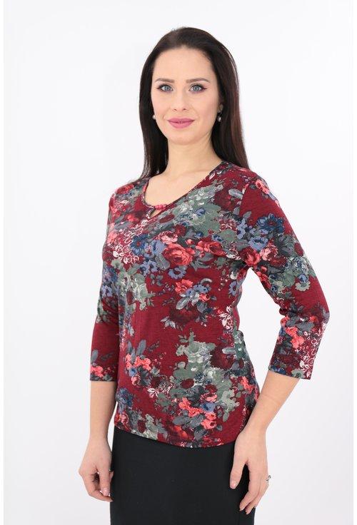 Bluza bordo din tricot cu print floral