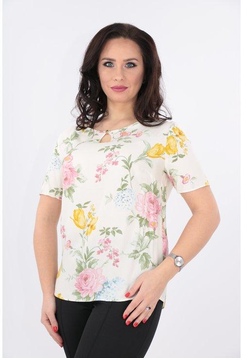 Bluza crem cu imprimeu floral