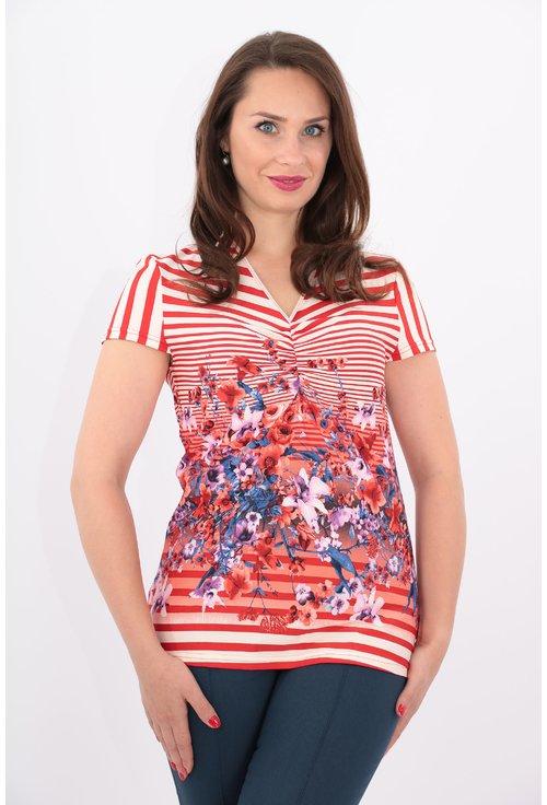 Bluza cu dungi rosii si print floral