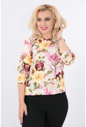Bluza cu flori gabene si violet
