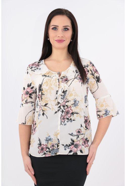 Bluza cu imprimeu crem cu volane