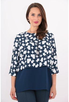 Bluza cu print geometric bleumarin