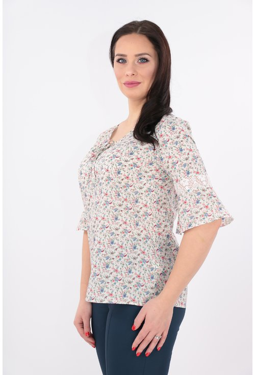 Bluza din bumbac alb cu print floral