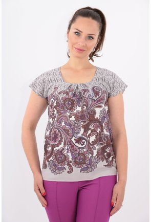 Bluza din bumbac cu print floral mov