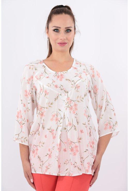 Bluza din bumbac cu print floral roz