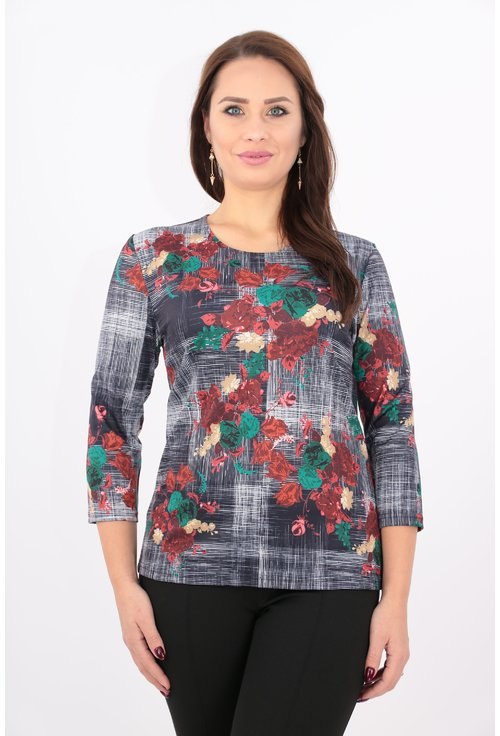 Bluza din jerse cu imprimeu cu flori rosii