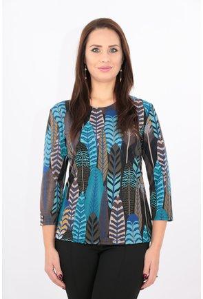 Bluza din jerse cu imprimeu cu frunze albastre