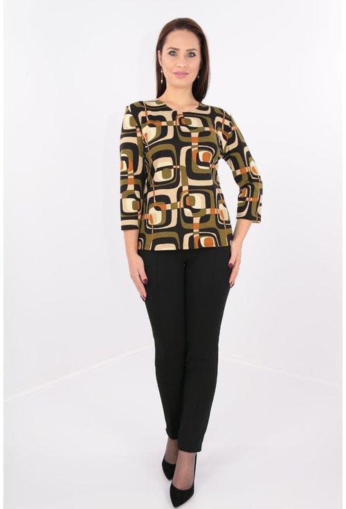 Bluza din jerse cu print geometric kaki si negru