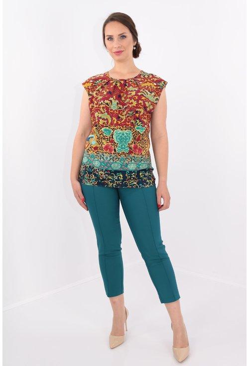 Bluza din matase cu print multicolor
