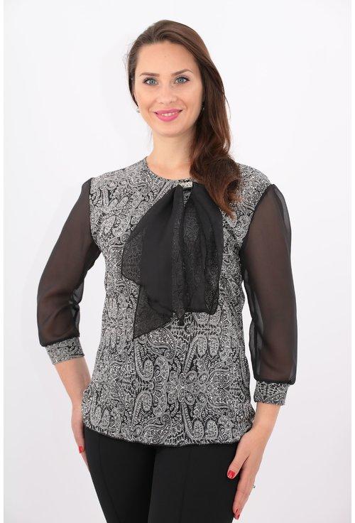 Bluza din voal plisat cu print floral