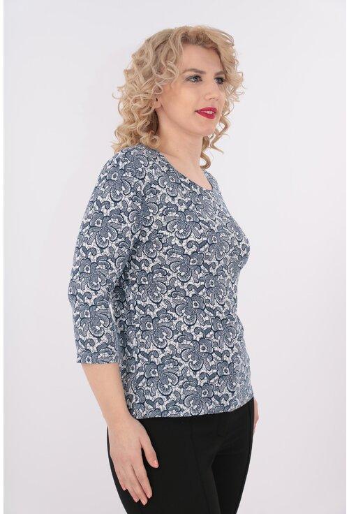 Bluza din tricot cu print floral bleumarin