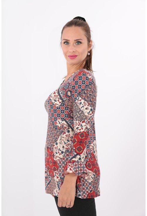 Bluza din tricot cu print rosu