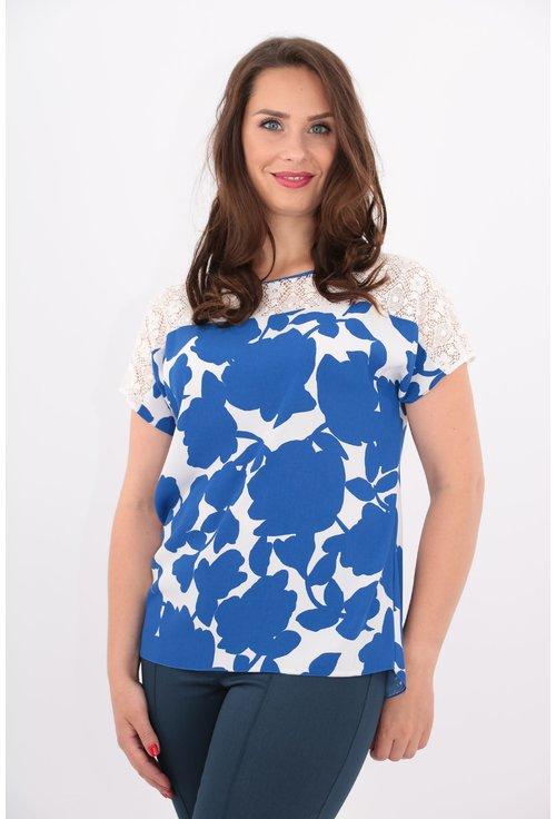 Bluza din vascoza cu print floral albastru