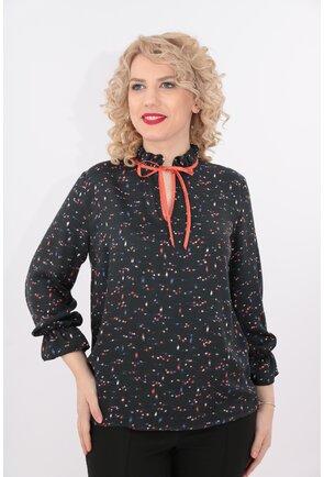 Bluza din vascoza gri inchis cu buline multicolore