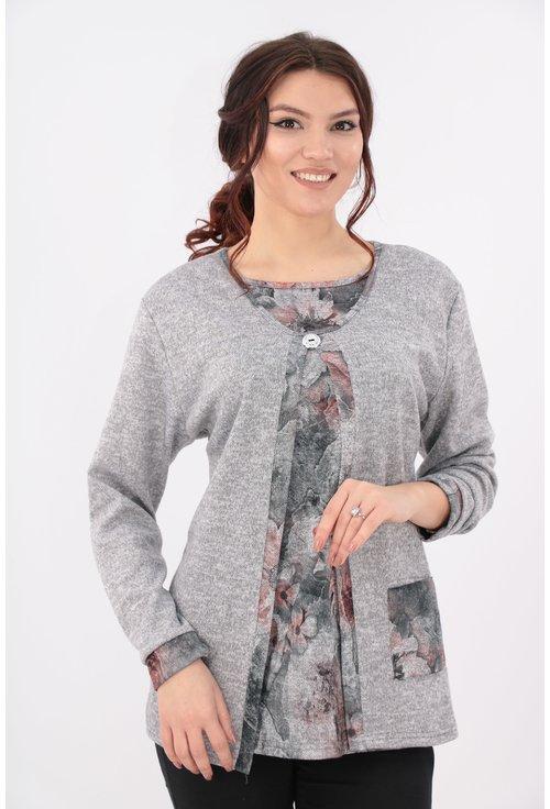 Bluza gri cu garnitura florala si aspect suprapus