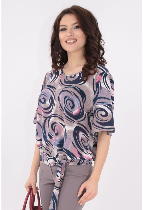 Bluza gri din matase cu print abstract