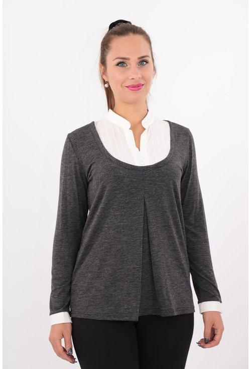 Bluza gri din tricot cu guler alb