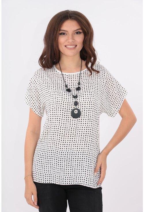 Bluza lejera alba cu puncte negre