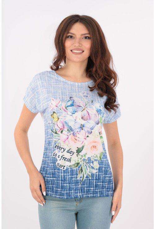 Bluza lejera bleu cu print floral multicolor