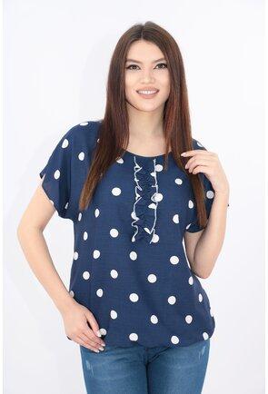 Bluza lejera bleumarin cu buline albe