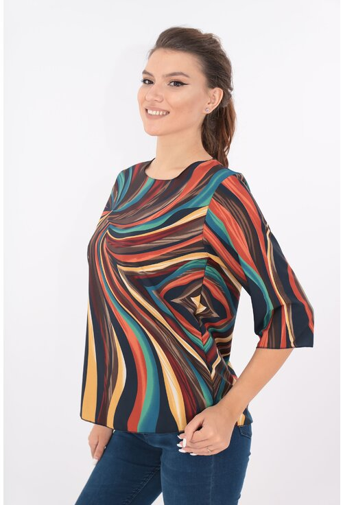Bluza lejera bleumarin cu desen abstract multicolor