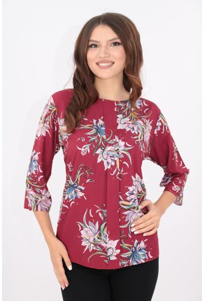 Bluza lejera bordo cu pliu in fata si print floral