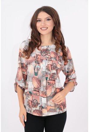 Bluza lejera cu print caramiziu si pliu in fata