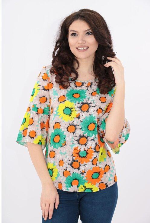 Bluza lejera cu print floral galben