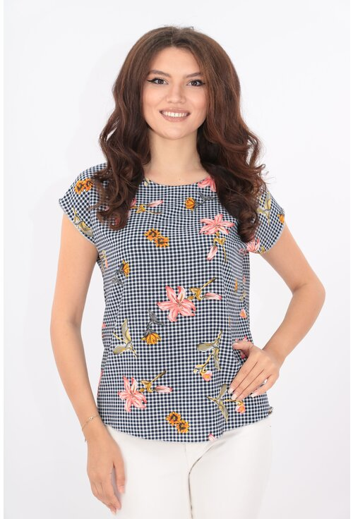 Bluza lejera cu print floral si carouri bleumarin