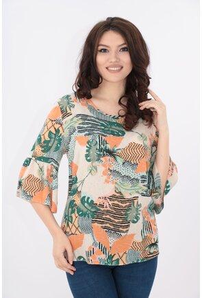 Bluza lejera cu print floral verde