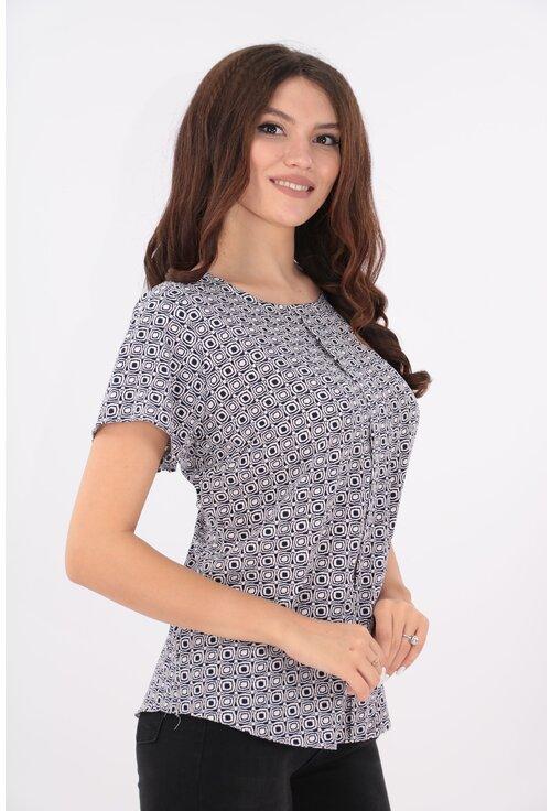 Bluza lejera cu print geometric alb-bleumarin