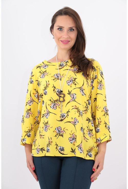 Bluza lejera galbena cu print floral