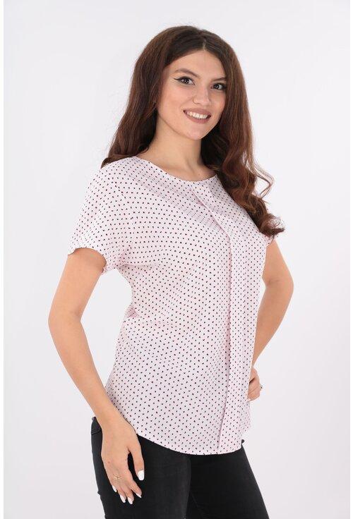 Bluza lejera roz cu print discret rosu
