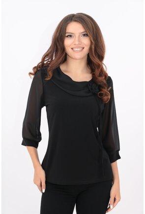Bluza neagra cu guler asimetric si trandafir din voal