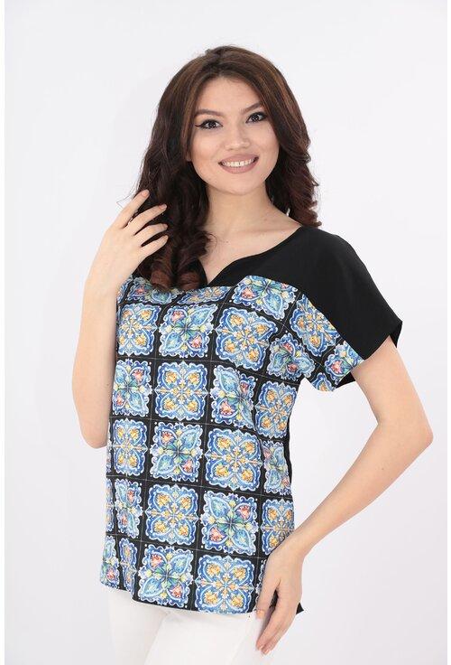 Bluza neagra cu imprimeu mozaic