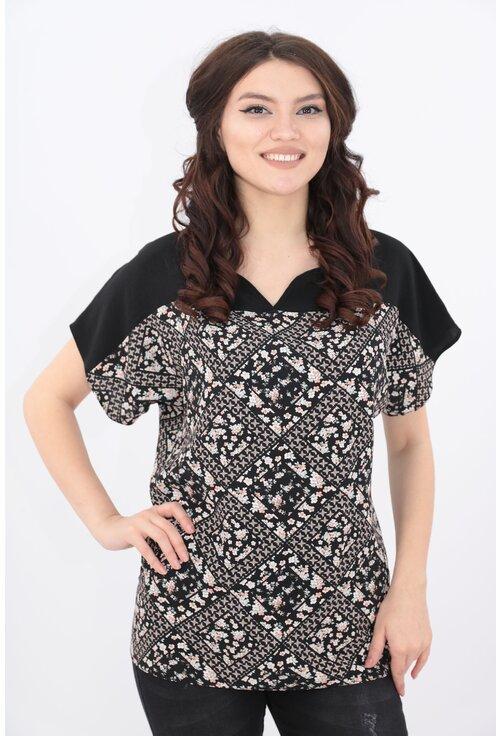 Bluza neagra cu romburi florale