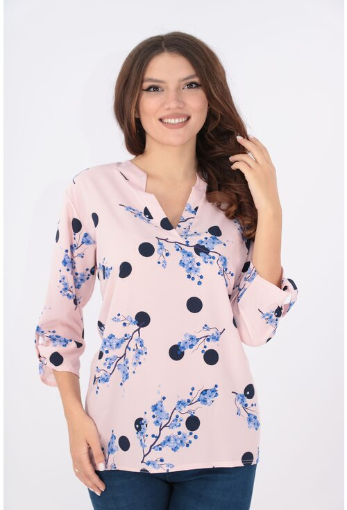 Bluza roz cu desen floral albastru si guler tunica