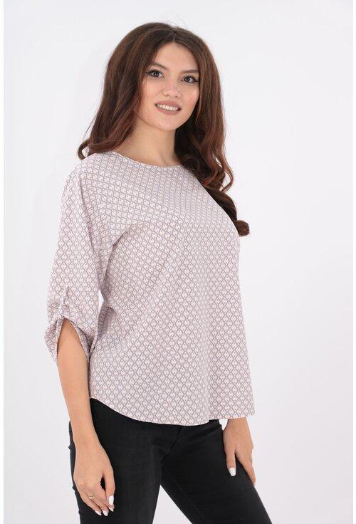 Bluza roz cu print geometric gri