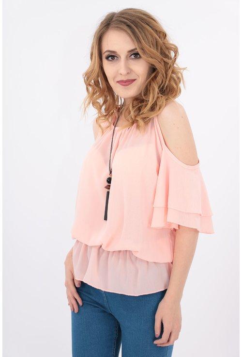 Bluza roz din voal