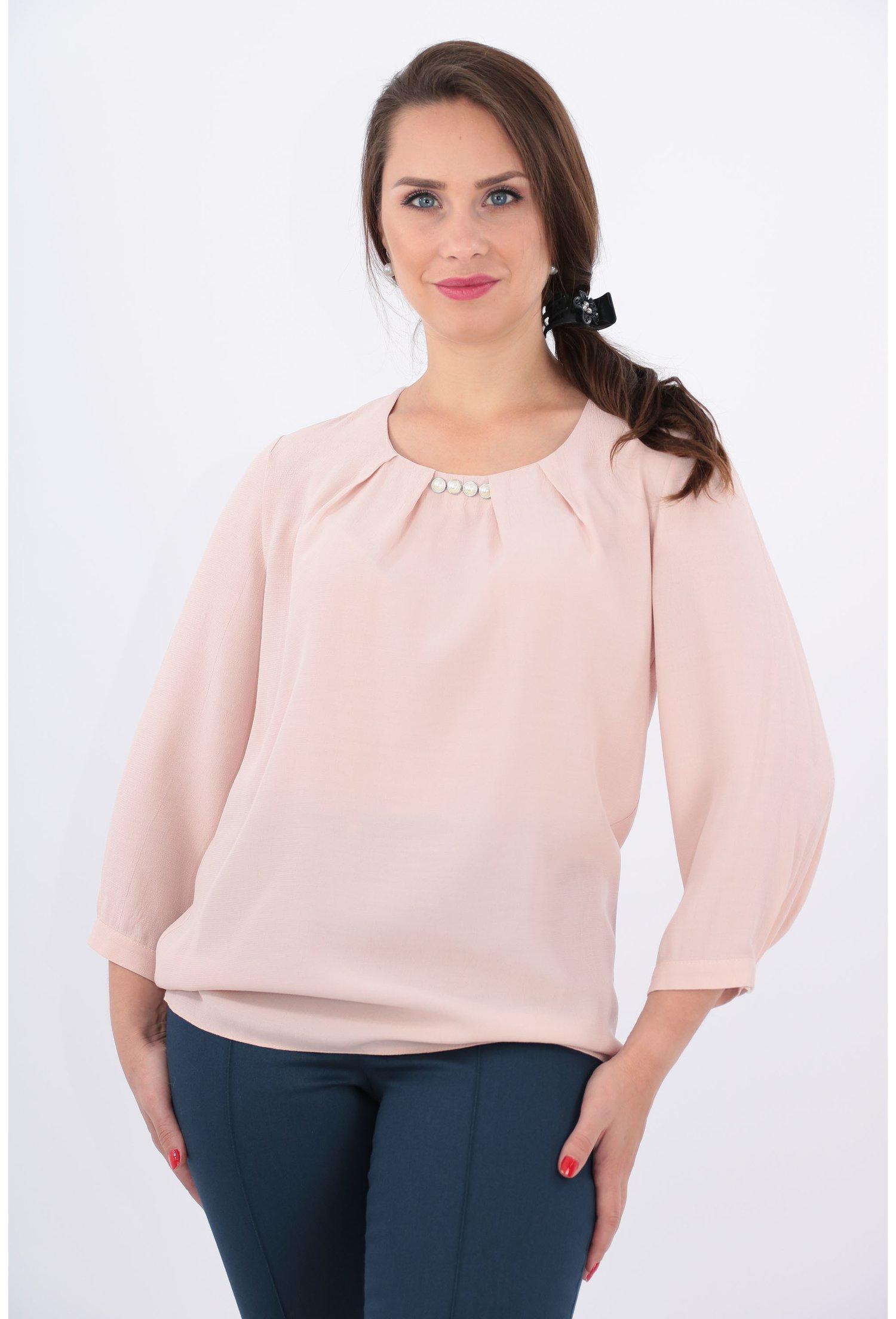 Bluza roz pudra din vascoza